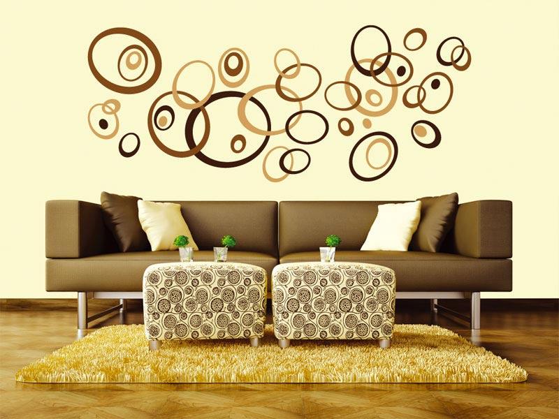 samolepicí dekorace na zeď hnědé ovály