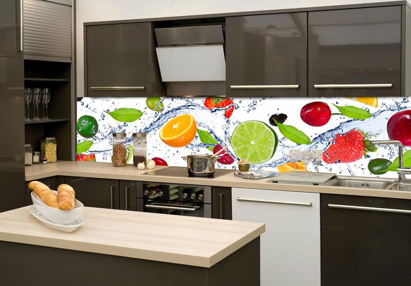 skleněná zástěna do kuchyně ovoce